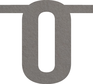 Cijfer 0 van vilt in grijs - Mevrouw Hendrik naamslinger vilt