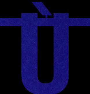 Speciaal teken Ù van vilt in donkerblauw - Mevrouw Hendrik naamslinger vilt