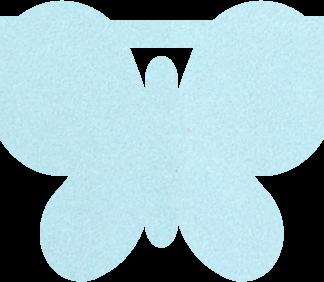 Vlinder van vilt in lichtblauw - Mevrouw Hendrik stoffen naamslinger vilt