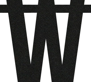 Letter W van vilt in zwart - Mevrouw Hendrik vilten naamslinger