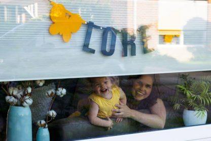 Naamslinger van vilt met de naam Lore en twee gele vlinders van vilt voor het raam als geboorteaankondiging