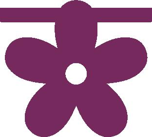 Bloem van vilt in paars - Mevrouw Hendrik
