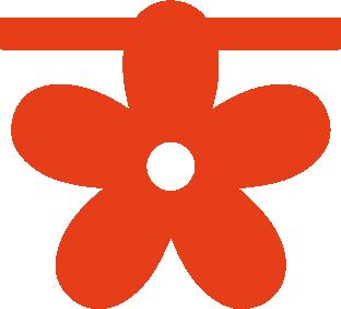 Bloem van vilt in oranje - Mevrouw Hendrik