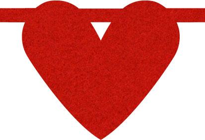 vilten hart in rood voor naamslinger van Mevrouw Hendrik