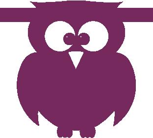 Uil van vilt in paars - Mevrouw Hendrik vilten naamslinger
