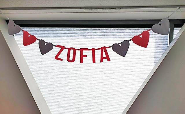 Zofia vilten geboorteslinger - naamslinger voor baby van Mevrouw Hendrik