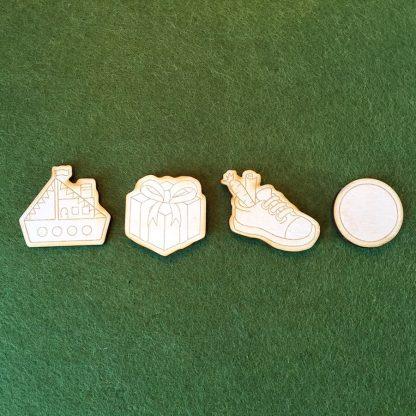 Schoenzetkalender met lasercut houten figuurtjes die je erop kunt plakken - Mevrouw Hendrik