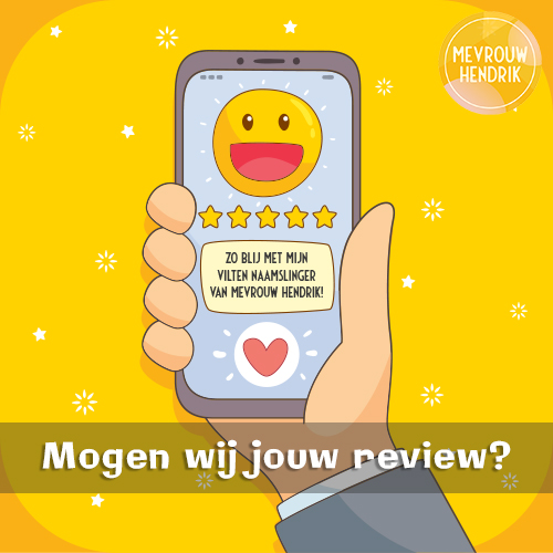 Reviews Mevrouw Hendrik schrijven via Google over je vilten naamslinger