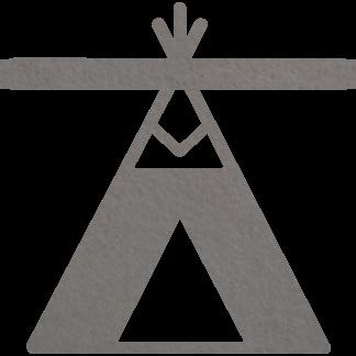 Vilten tipi of wigwam in grijs voor aan je naamslinger (slinger met naam) van Mevrouw Hendrik