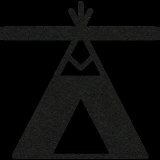 Vilten tipi of wigwam in zwart voor aan je naamslinger (slinger met naam) van Mevrouw Hendrik