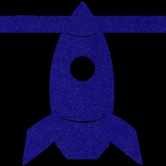 Vilten raket kobaltblauw voor aan je vilten slinger met naam van Mevrouw Hendrik