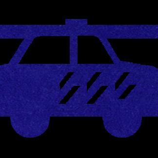 Vilten Politie auto donkerblauw voor aan je vilten slinger met naam van Mevrouw Hendrik