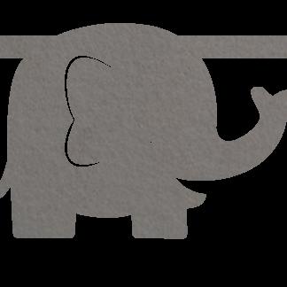 Vilten Olifant grijs voor aan je vilten slinger met naam van Mevrouw Hendrik
