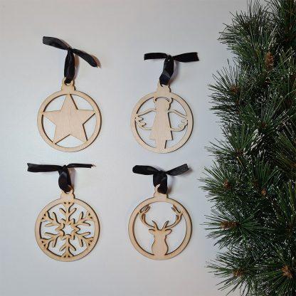 Houten kersthanger pakket 4 stuks - Mevrouw Hendrik
